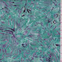 Teal/Purple Fringe Floral Cotton Batik