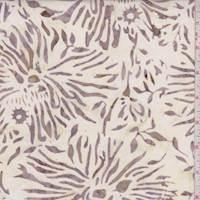 Ecru/Cocoa Fringe Floral Cotton Batik