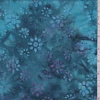 Aqua/Lilac Tossed Floral Cotton Batik