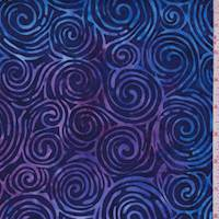 Purple/Royal Swirl Cotton Batik