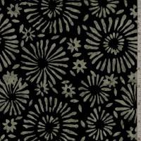 Black/Olive Floral Burst Cotton Batik