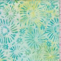 Mint/Lime Floral Burst Cotton Batik