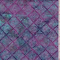 Fuchsia/Turquoise Dot Diamond Cotton Batik