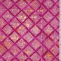Berry/Yellow Dot Diamond Cotton Batik
