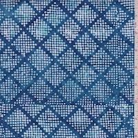 Blue/White Dot Diamond Cotton Batik