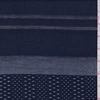 *3 5/8 YD PC--Dark Navy Deco Stripe Rayon Blend
