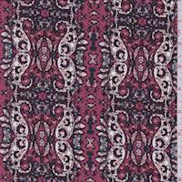 *1 1/8 YD PC--Begonia Pink Paisley Chain Jersey Knit