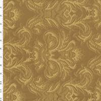 *1 1/8 YD PC--Brown/Yellow Baroque Matelasse Home Decorating Fabric
