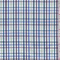 White/Plum/Teal Multi Plaid Shirting