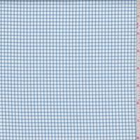 White/Soft Blue Mini Check Twill Shirting