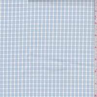 White/Powder Blue Check Cotton Shirting