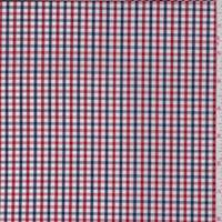 Navy/Cherry Check Cotton Shirting