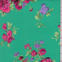 Kelly/Lilac Floral Bouquet Textured Liverpool Knit