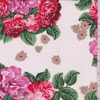 Ivory/Fuchsia Floral Textured Liverpool Knit