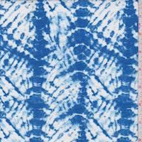 Blue/White Batik Look Textured Liverpool Knit
