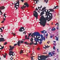 White/Fuchsia Floral Laser Cut Scuba Knit