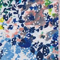 White/Turquoise Floral Laser Cut Scuba Knit