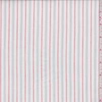 White/Grey/Red Stripe Cotton Lawn