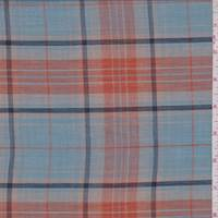 Sky Blue/Orange Plaid Cotton Lawn