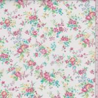 White/Blush Mini Floral Cotton Lawn