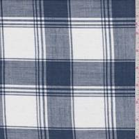 Dark Blue/White Windowpane Plaid Cotton Lawn