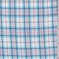 White/Turquoise Plaid Cotton Lawn