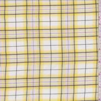 White/Yellow Plaid Cotton Lawn