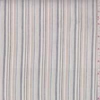 Tan/Pale Blue Pinstripe Cotton Lawn