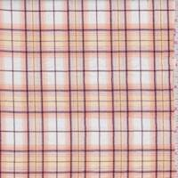 White/Peach Plaid Cotton Lawn