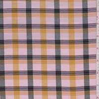 Pink/Gold/Black Check Cotton