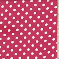 Coral Red/White Dot Rayon Challis