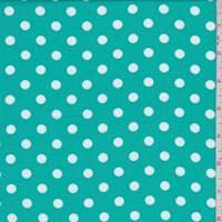 Aquamarine Green/White Dot Rayon Challis