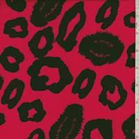 Bright Red/Black Ikat Cheetah Rayon Challis