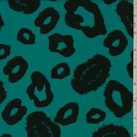 Bright Teal/Black Ikat Cheetah Rayon Challis