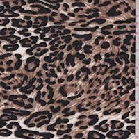 White/Brown Cheetah Rayon Challis