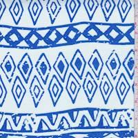 White/Ocean Tribal Stripe Rayon Challis
