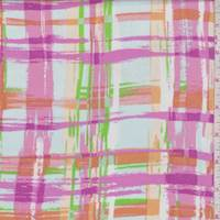 Pink/Lime/Peach Brushstroke Plaid Rayon Challis