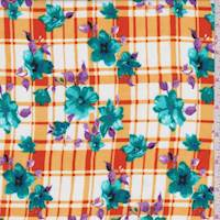 Orange/White Floral Plaid Rayon Challis