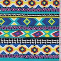Turquoise/Black/Pink Aztec Stripe Rayon Challis