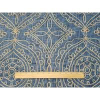 *1 1/8 YD PC--Navy/Beige Ogee Embroidered Woven Decorating Fabric