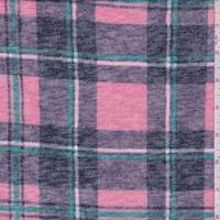 *2 1/8 YD PC--Pink/Wintergreen Plaid Slubbed Sweater Knit
