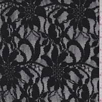 *2 YD PC--Black Floral Garden Lace