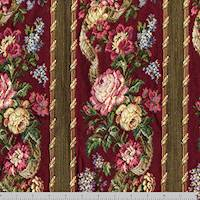 *1 YD PC--Red/Yellow/Multi Floral Stripe Tapestry Decorating Fabric