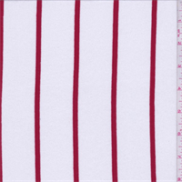 *1 3/8 YD PC--White/Red Stripe Rayon Jersey Knit