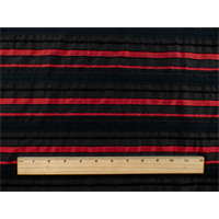 *1 1/8 YD PC--Black/Red Stripe Woven