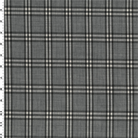 *2 1/2 YD PC--Grey Wool Blend Plaid Shirting