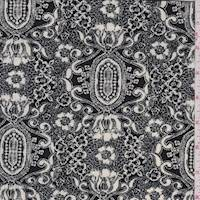 *1 3/4 YD PC--Black/Cream Baroque ITY Jersey Knit