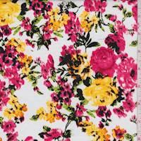 *3 3/4 YD PC--White/Coral Floral Lattice Poplin