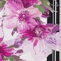 *4 5/8 YD PC--Fuchsia/White Hibiscus Poplin