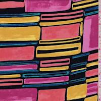 *1 5/8 YD PC--Pink/Black/Gold Mod Block Crepe De Chine